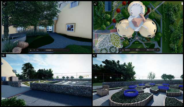 Duplicable City Center landscaping design, Addressing Climate Change With Holistic Living Models, One Community Weekly Progress Update #420